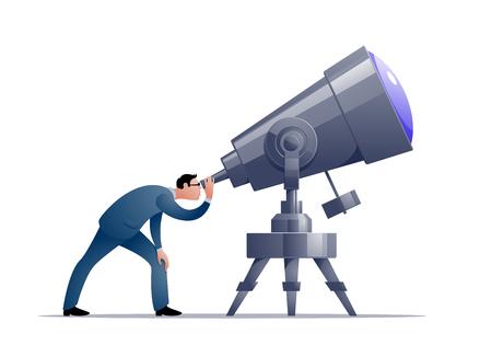Vector cartoon astronomer looking through a telescope Illustration