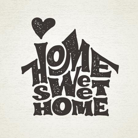 Casa dolce casa. Vector lettring con la forma della casa Archivio Fotografico - 80917686