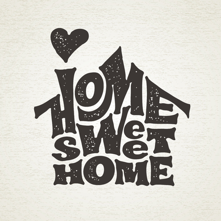 Home sweet home. Vector lettring with house shape Imagens - 80917686