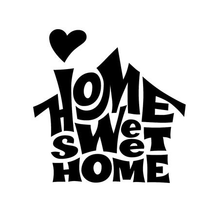 Home sweet home. Vector lettring with house shape Stock Illustratie