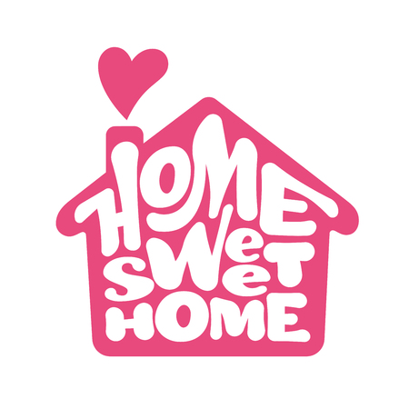 Home sweet home lettring with house shape