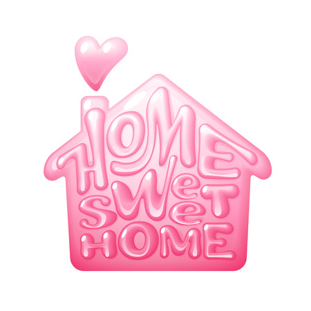 Home sweet home. Vector lettering house shape