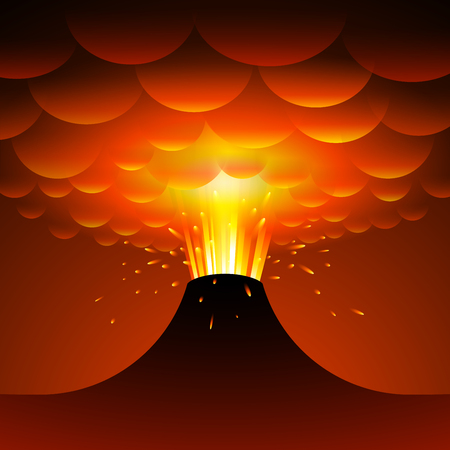Volcano eruption. Vector cartoon illustration.