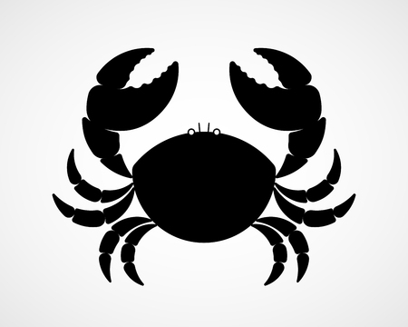 Vector black and white crab silhouette Stock Photo