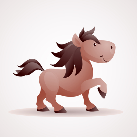 Smiling horse vector cartoon.