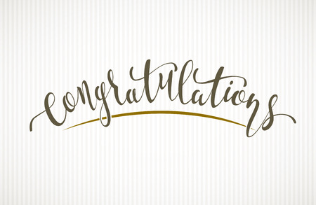 Congratulations. Vector lettering on light background Illustration