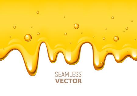 Vector seamless dripping honey on white background Illustration
