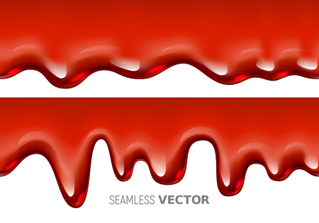 Vector seamless dripping red liquid is similar to blood or syrup on white background