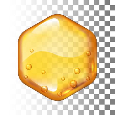 Realistic vector honey drop. Hexagon on transparent background