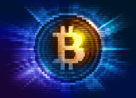 Virtual bitcoin digital currency consist of binary code