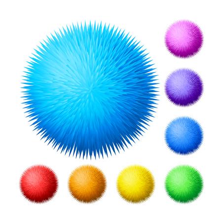 Vector set of fur pompons Illustration