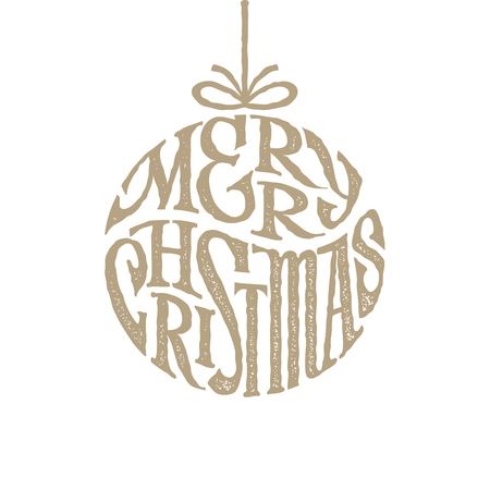 inscribed: Hand drawn phrase Merry Christmas inscribed in a circle Illustration