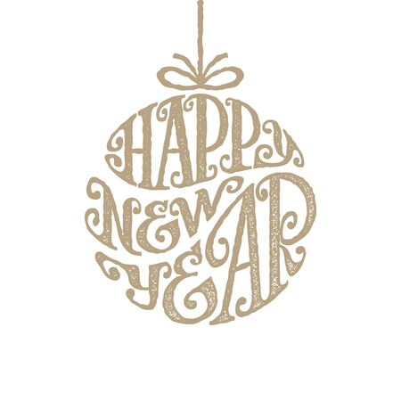 inscribed: Hand drawn phrase Happy New Year inscribed in a circle Illustration