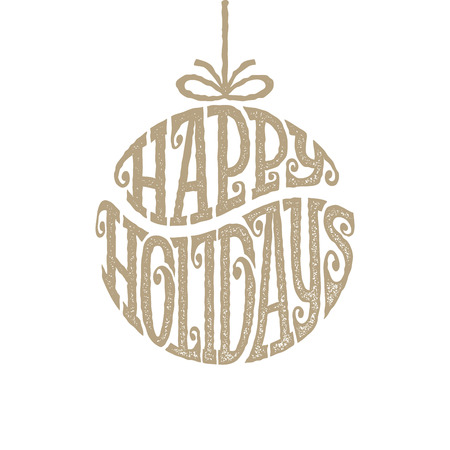 inscribed: Hand drawn phrase Happy Holiays inscribed in a circle Illustration