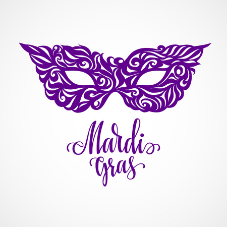 Mardi Gras lettering with carnival mask