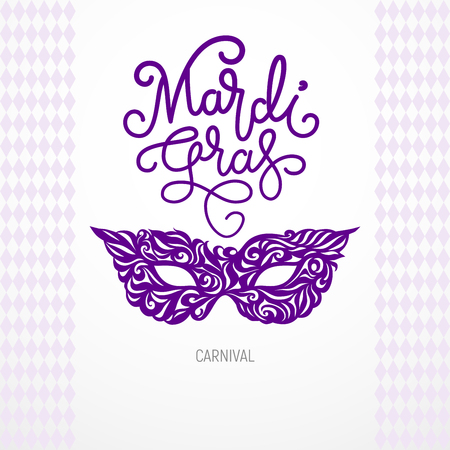 Mardi Gras lettering with carnival mask. RGB Global colors Illustration