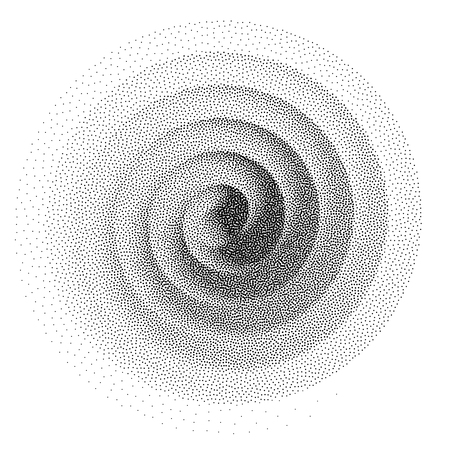 Abstract spiral background. Black and white halftone stipple dots pattern Çizim