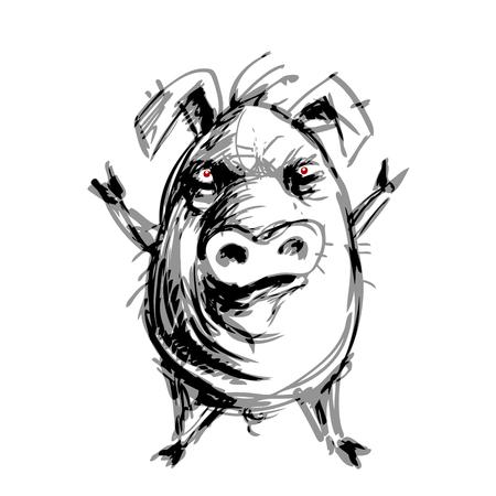 Cerdo enojado dibujado a mano. Ilustración de colores globales RGB.