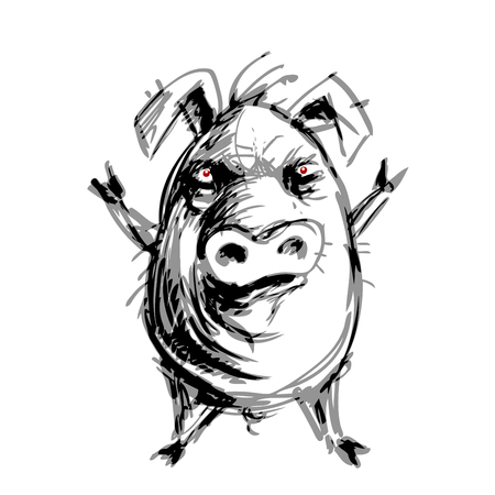 Hand drawn angry pig. RGB Global colors illustration.
