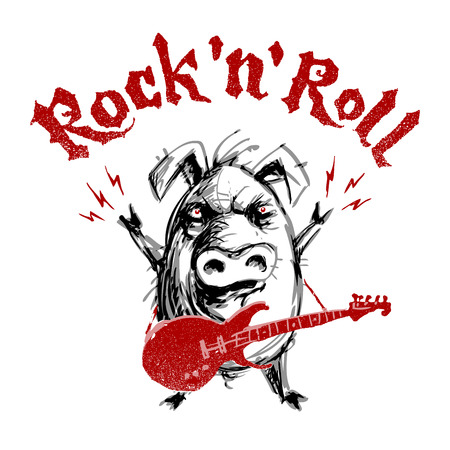 Rock and roll lettering with cartoon pig. RGB Global colors illustration.