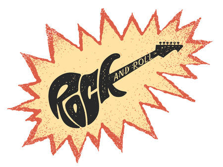 Rock and roll guitar design icon. Illustration