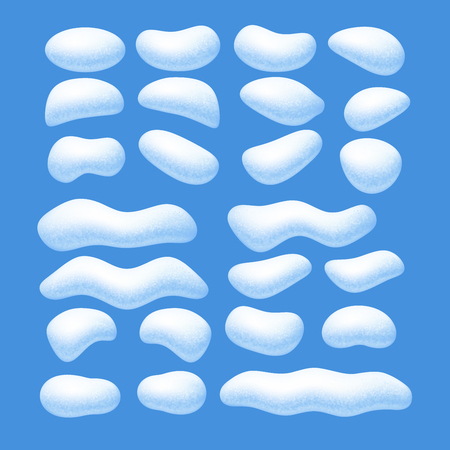 Snow caps vector set isolated on blue background. Eps8. RGB. Global colors