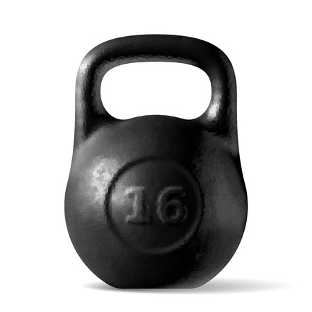 Vector realistic rough black kettlebell 16 kg isolated on white background