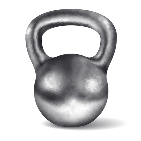Vector realistic glossy chromed kettlebell isolated on white background