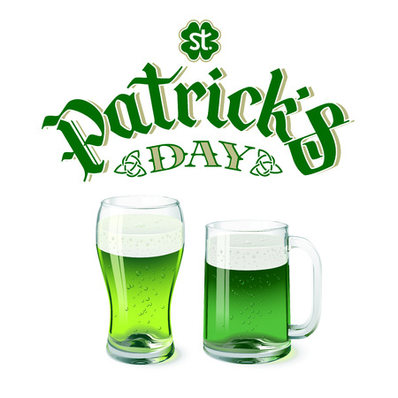 Vector green beer glass and mug isolated on white background with St. Patricks day lettering. Eps8. RGB. global colors