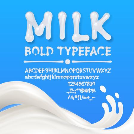 Alphabets majuscules et minuscules de lait avec symboles et chiffres isolés sur fond bleu avec éclaboussures de lait. . Eps10. RVB Vecteurs