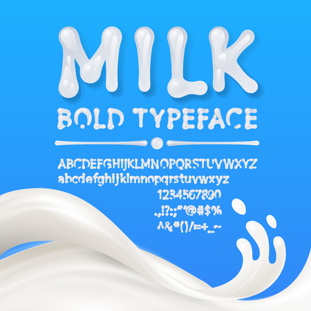 Milk uppercase and lowercase alphabets with symbols and numbers isolated on blue background with milk splash. . Eps10. RGB