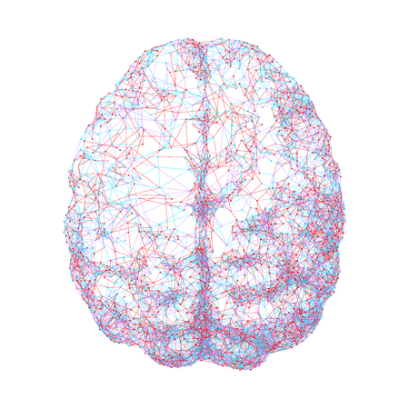 Human brain consist of dots connected by lines in top view. Eps8. RGB. Global colors Illustration