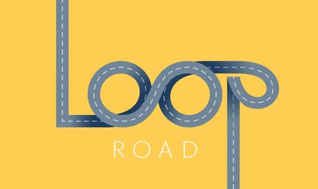 Loop asphalt road concept. Vector ribbon lettering