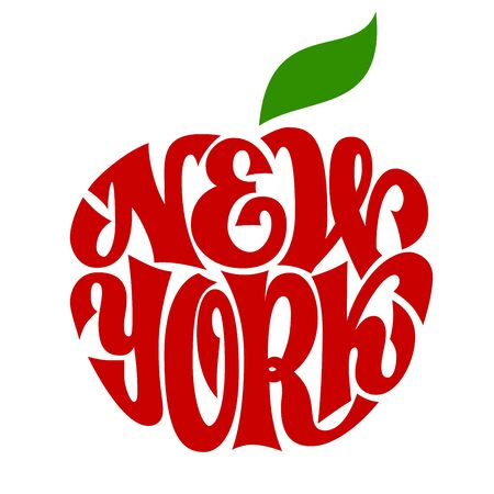 New York. Vector apple shaped curling lettering