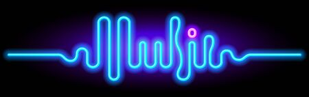 Sound wave in the form of the word Music. Vector lettering Иллюстрация