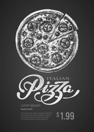Pizza. Vector chalk drawing and lettering on blackboard. RGB Global colors