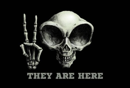 Humanoid alien skull. Vector illustration on black background