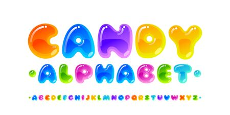 Candy font. Transparent glossy multicolored vector uppercase alphabet isolated on white background Çizim
