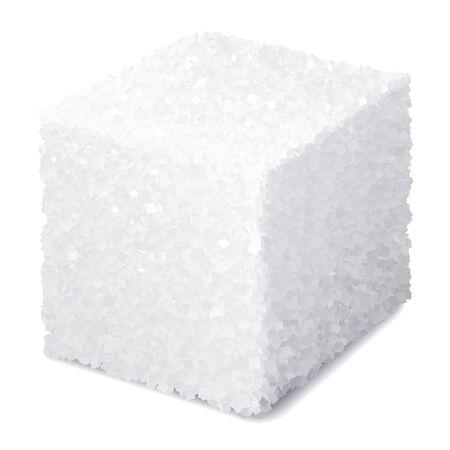 Zolletta di zucchero 3d realistica di vettore isolata su fondo bianco