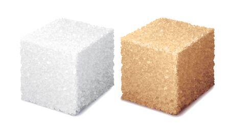 Cubes de sucre blanc et brun 3d réalistes de vecteur isolés sur fond blanc Vecteurs