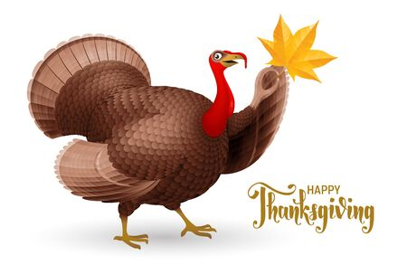 Cartoon smiling turkey bird with hand writting phrase Happy Thanksgiving. RGB. Global colors Çizim