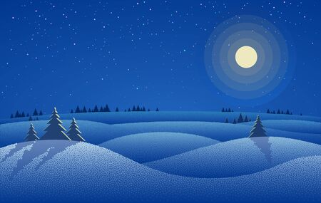 Winter night landscape with snow drifts, trees and night starry sky with moon
