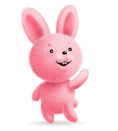 Pink fluffy rabbit standing and waving its paw. RGB. Global colors