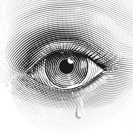 Sad woman eye with tears in engraved style Illustration
