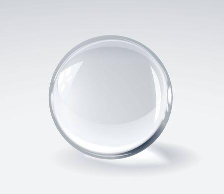 Boule sphérique en verre 3d réaliste sur fond clair