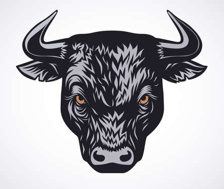 Angry bull head vector illustration on white background Vetores