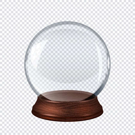 Empty Transparent Glass Christmas Snow Globe on checkered background