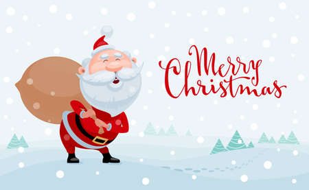 Merry Christmas. Cartoon Santa Claus standing with bag of gifts on on snowy landscape 向量圖像