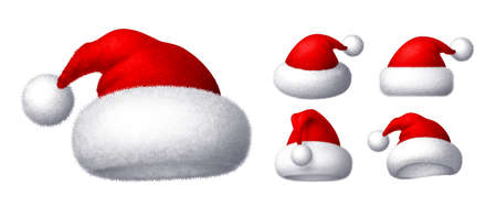 Realistic vector Santa hat isolated on white background