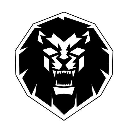 Lion Head front view logo vector design template icon illustration